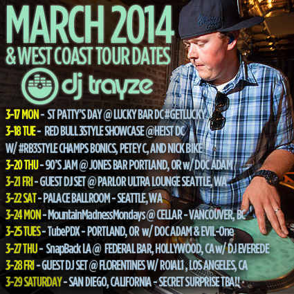 TRAYZE MARCH 2014 TOUR DATES