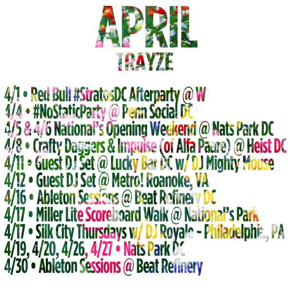 APRIL SCHEDULE TRAYZE